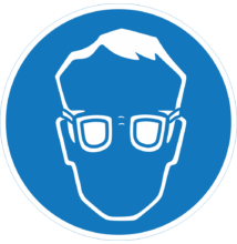 Védőszemüveg használata kötelező piktogram – tábla
