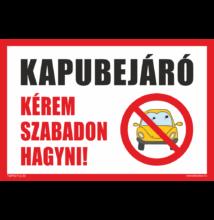Kapubejáró tábla - sárga autóval