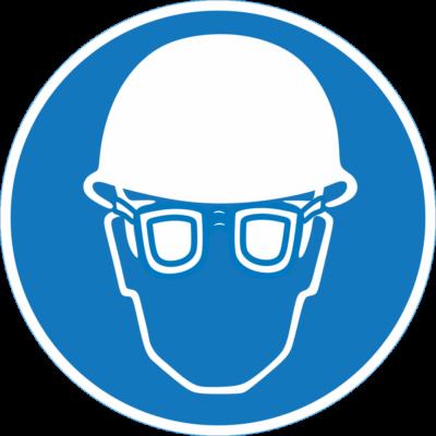 Fejvédő és szemüveg használata kötelező piktogram tábla