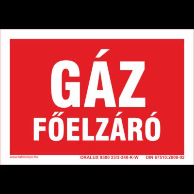 Gáz főelzáró tábla - utánvilágító