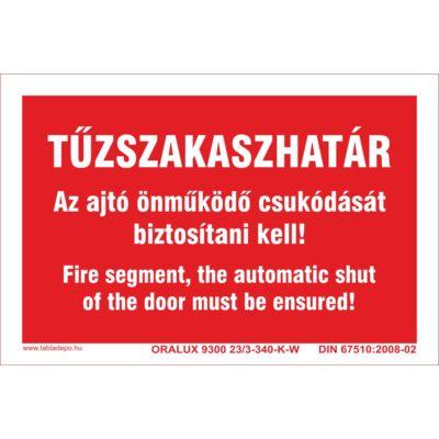 Tűzszakaszhatár tábla - többnyelvű - utánvilágító