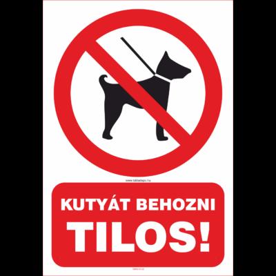 Kutyát behozni tilos tábla