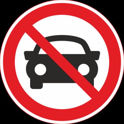 Várakozni tilos tábla autóval