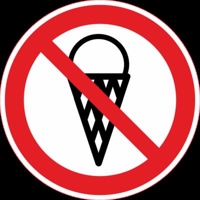 Fagyizni tilos tábla – piktogram