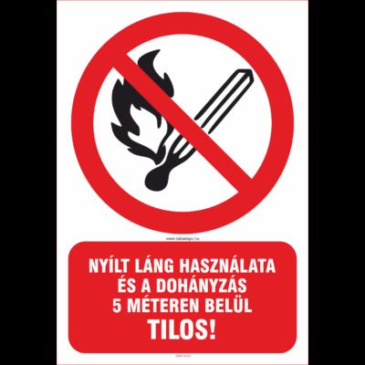 Nyílt láng használatát és dohányzást tiltó tábla