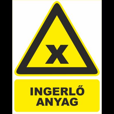 Ingerlő anyag jelölése tábla
