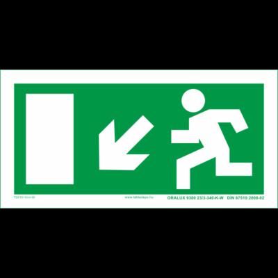 Menekülési útvonal utánvilágító tábla balra le