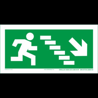 Menekülési útvonal utánvilágító tábla lépcsőn jobbra le