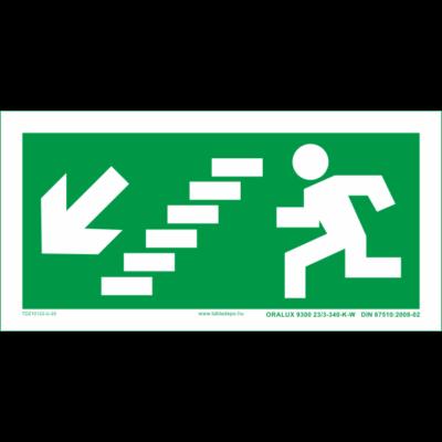 Menekülési útvonal utánvilágító tábla lépcsőn balra le