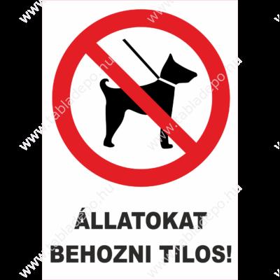 kutyát behozni tilos