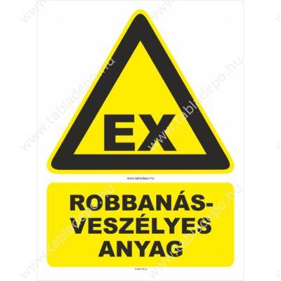 robbanásveszély figyelmeztető tábla
