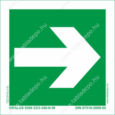iránymutató jel, utánvilágító menekülési útvonal tábla