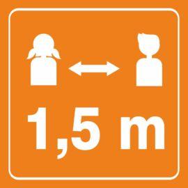 biztonságos távolság matrica