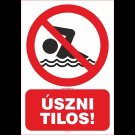 úszni tilos tábla