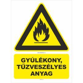 gyúlékony, tűzveszélyes anyag tábla és matrica