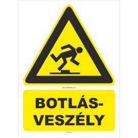 botlásveszély figyelmeztető tábla és matrica