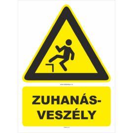 zuhanásveszély figyelmeztető tábla és matrica