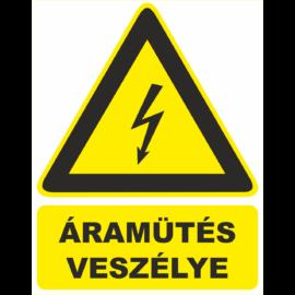 áramütés veszélye tábla és matrica