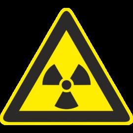 sugárveszély tábla és matrica
