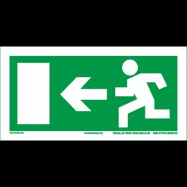 menekülési útvonal tábla - utánvilágító - balra
