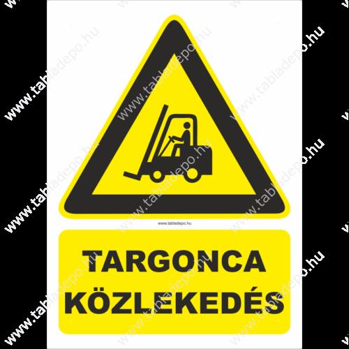 targonca közlekedés figyelmeztető tábla és matrica